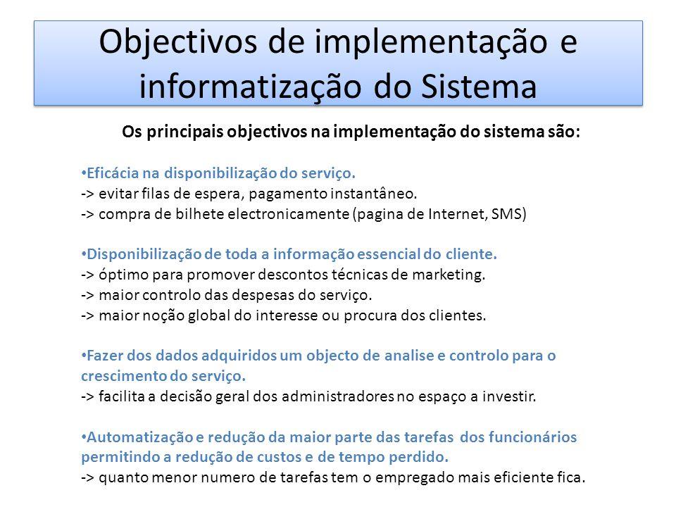 Objectivos de implementação e informatização do Sistema Os principais objectivos na implementação do sistema são: • Eficácia na disponibilização do serviço.