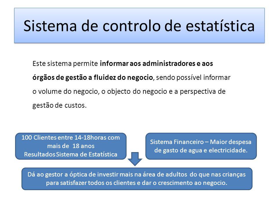 Sistema de controlo de estatística Este sistema permite informar aos administradores e aos órgãos de gestão a fluidez do negocio, sendo possível infor