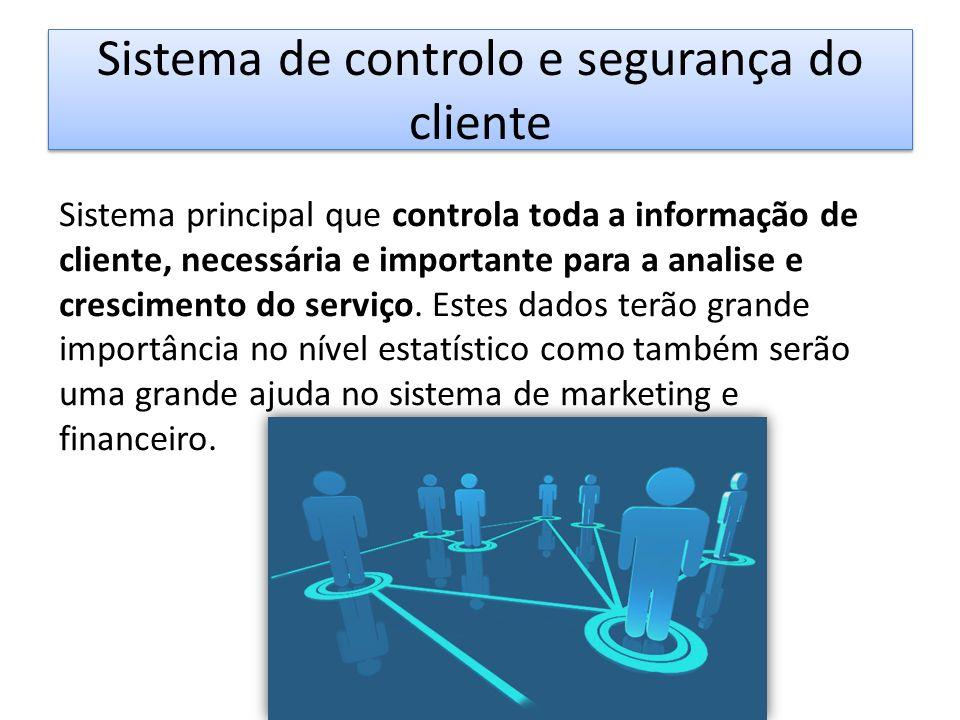 Sistema de controlo e segurança do cliente Sistema principal que controla toda a informação de cliente, necessária e importante para a analise e crescimento do serviço.