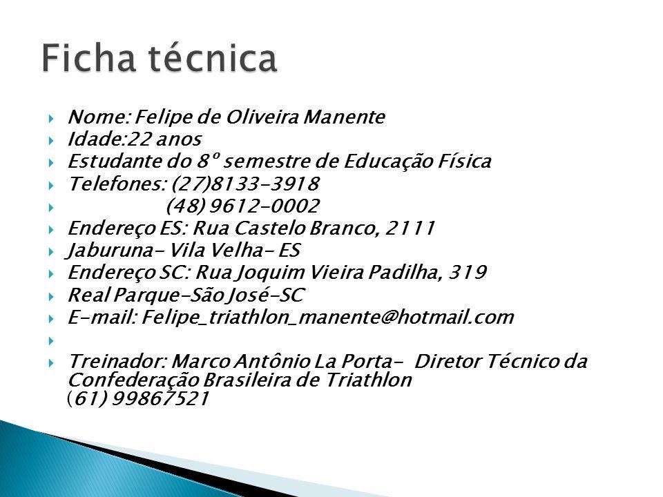  Nome: Felipe de Oliveira Manente  Idade:22 anos  Estudante do 8º semestre de Educação Física  Telefones: (27)8133-3918  (48) 9612-0002  Endereç