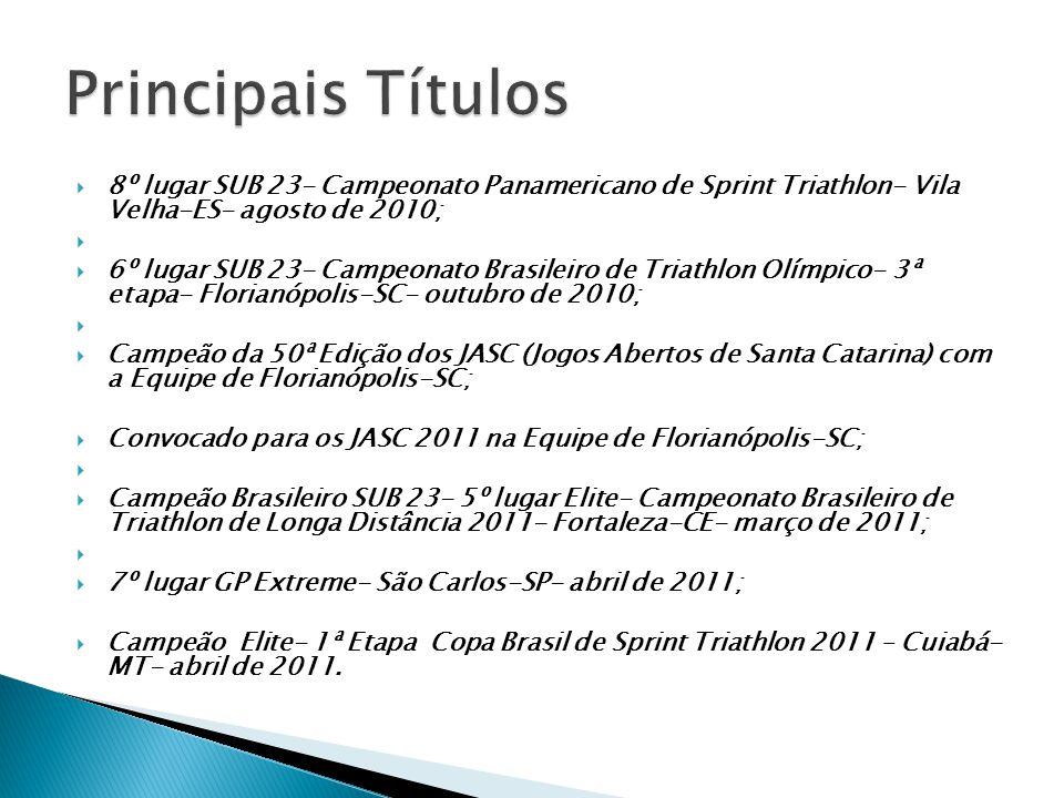  TOP 3 SUB 23- Panamericano de Triathlon de Longa Distância;  Pontuar nas provas Internacionais a fim de adquirir experiência em provas olímpicas internacionais.