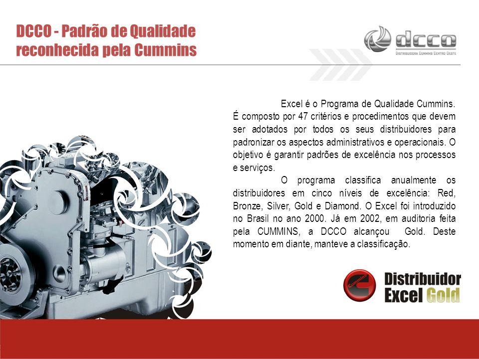 DCCO - Padrão de Qualidade reconhecida pela Cummins Excel é o Programa de Qualidade Cummins. É composto por 47 critérios e procedimentos que devem ser