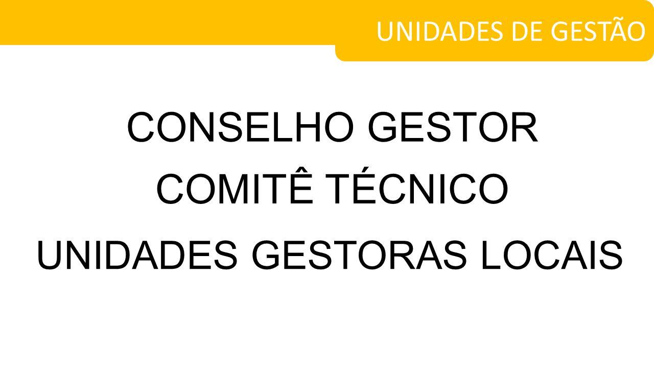 CONSELHO GESTOR UNIDADES DE GESTÃO COMITÊ TÉCNICO UNIDADES GESTORAS LOCAIS