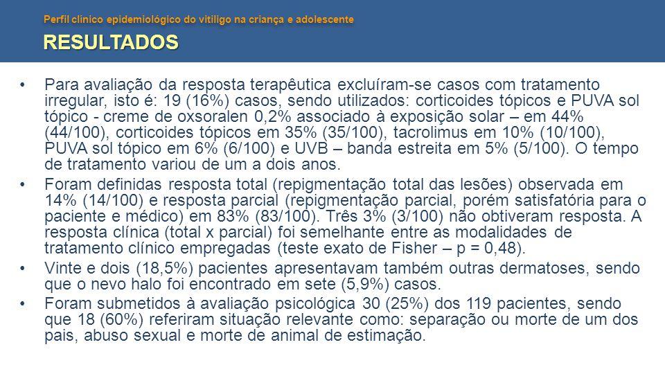 Perfil clínico epidemiológico do vitiligo na criança e adolescente DISCUSSÃO E CONCLUSÕES •Os resultados obtidos neste estudo mostram um maior número de casos no sexo feminino, maior prevalência entre seis e dez anos (46,6%) e menor abaixo dos dois anos (5,5%).