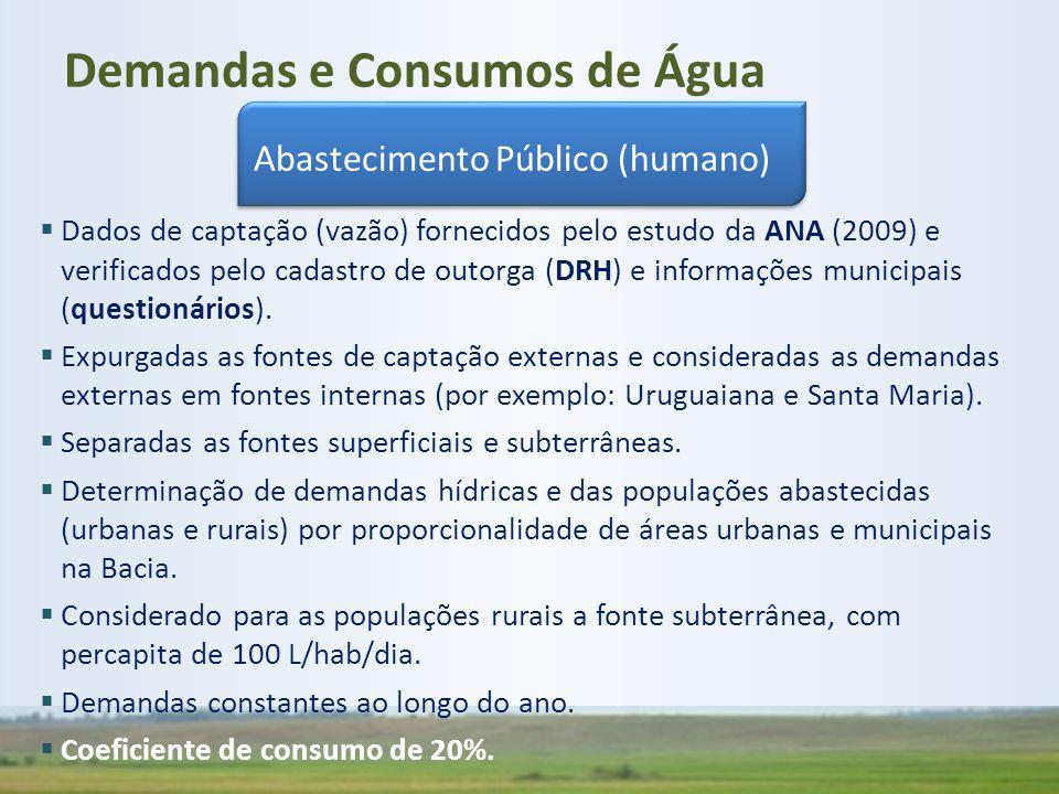  Dados de captação (vazão) fornecidos pelo estudo da ANA (2009) e verificados pelo cadastro de outorga (DRH) e informações municipais (questionários)