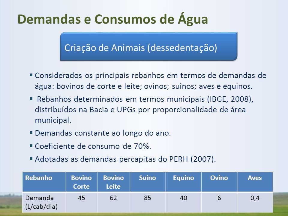  Considerados os principais rebanhos em termos de demandas de água: bovinos de corte e leite; ovinos; suinos; aves e equinos.  Rebanhos determinados