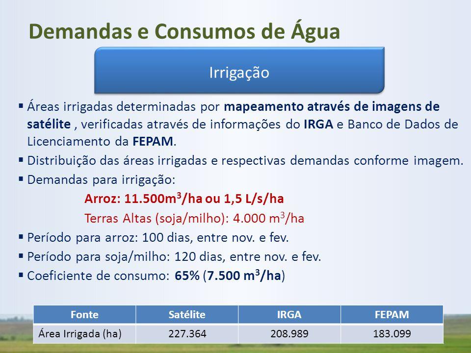  Áreas irrigadas determinadas por mapeamento através de imagens de satélite, verificadas através de informações do IRGA e Banco de Dados de Licenciam