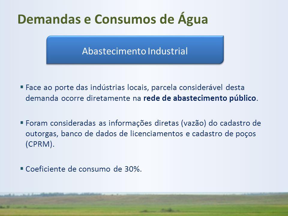  Face ao porte das indústrias locais, parcela considerável desta demanda ocorre diretamente na rede de abastecimento público.  Foram consideradas as