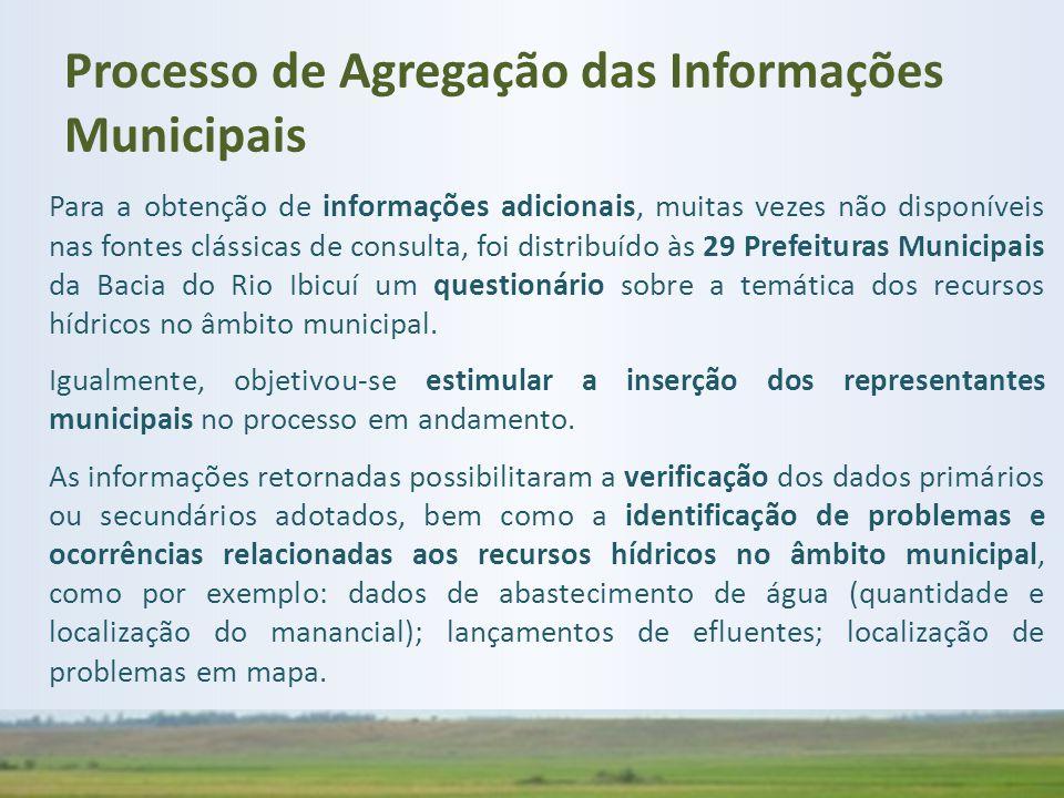 Para a obtenção de informações adicionais, muitas vezes não disponíveis nas fontes clássicas de consulta, foi distribuído às 29 Prefeituras Municipais