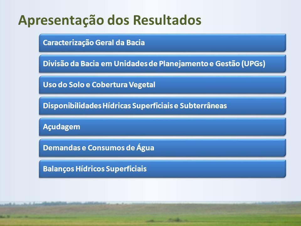 Apresentação dos Resultados Caracterização Geral da Bacia Divisão da Bacia em Unidades de Planejamento e Gestão (UPGs) Uso do Solo e Cobertura Vegetal