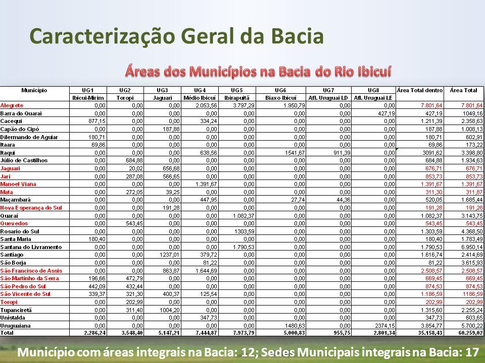 Município com áreas integrais na Bacia: 12; Sedes Municipais integrais na Bacia: 17 Caracterização Geral da Bacia