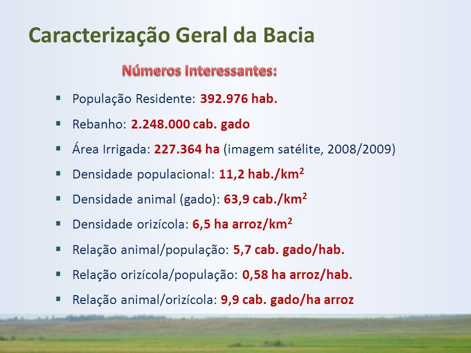  População Residente: 392.976 hab.  Rebanho: 2.248.000 cab. gado  Área Irrigada: 227.364 ha (imagem satélite, 2008/2009)  Densidade populacional: