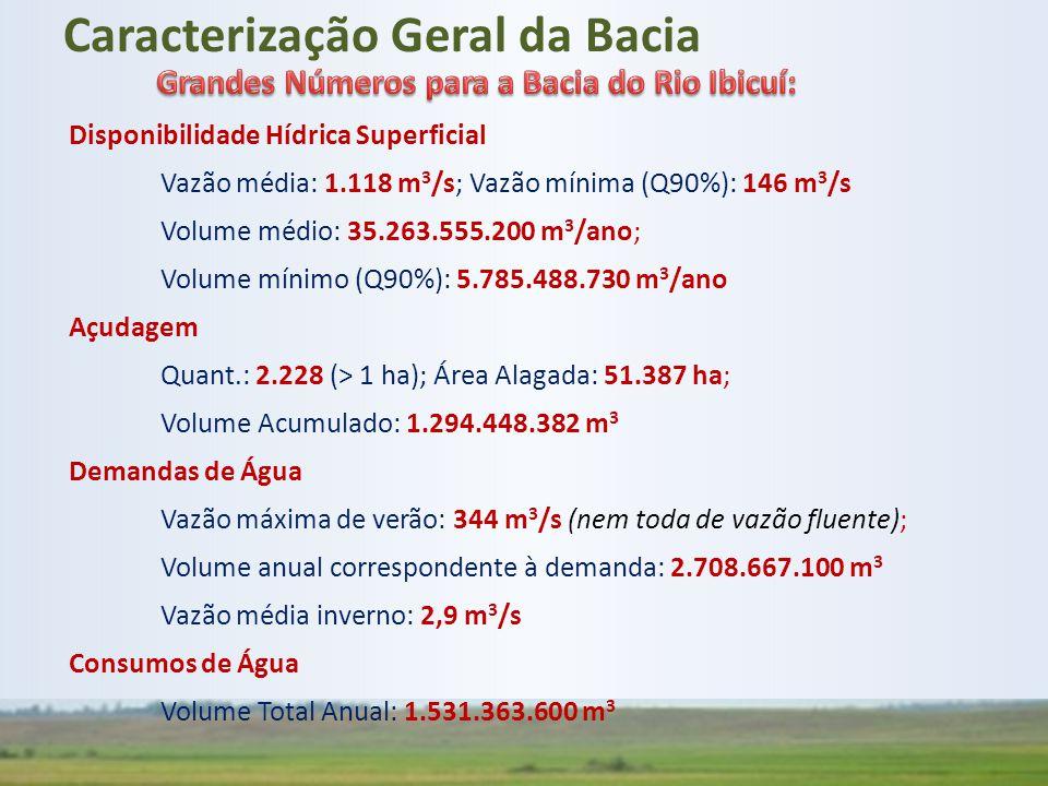 Disponibilidade Hídrica Superficial Vazão média: 1.118 m 3 /s; Vazão mínima (Q90%): 146 m 3 /s Volume médio: 35.263.555.200 m 3 /ano; Volume mínimo (Q