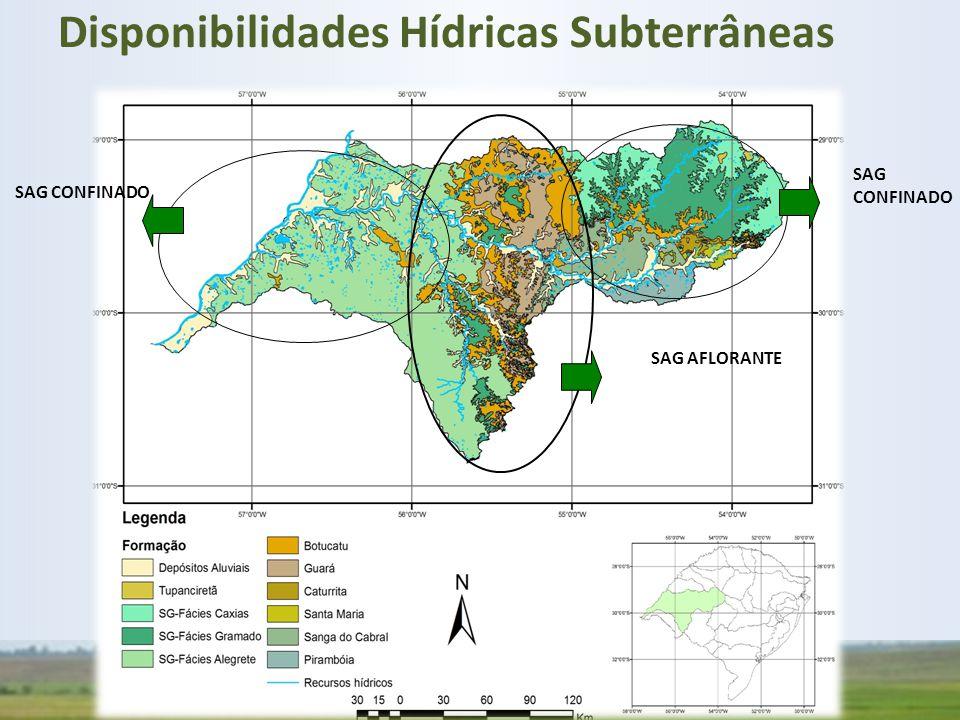 SAG AFLORANTE SAG CONFINADO Disponibilidades Hídricas Subterrâneas
