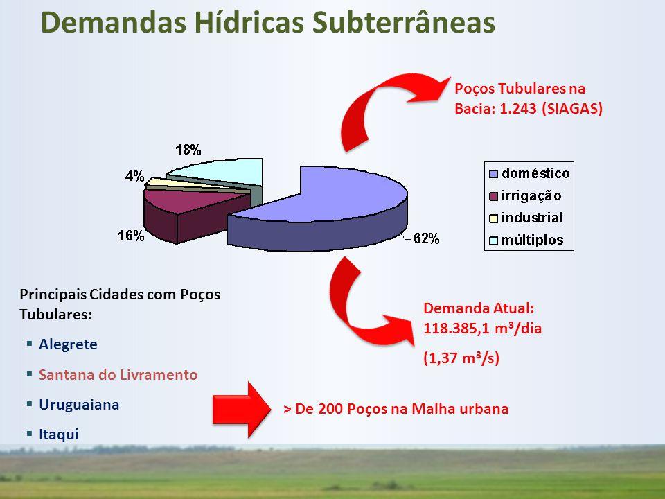 Poços Tubulares na Bacia: 1.243 (SIAGAS) Demanda Atual: 118.385,1 m 3 /dia (1,37 m 3 /s) Principais Cidades com Poços Tubulares:  Alegrete  Santana