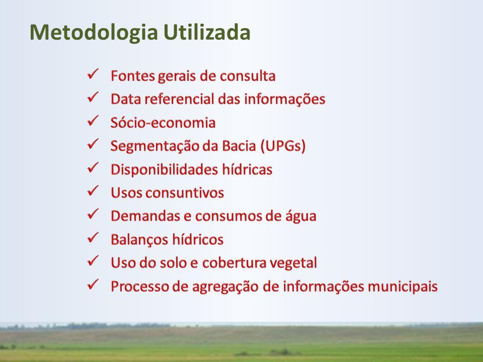 Fontes Gerais de Consulta  Programa Pró Uruguai – Aquífero Guarani – Plano Sustentável para a Região da Bacia do Rio Uruguai (BID/2009)  Atlas Sul – Abastecimento Urbano de Água (ANA/2009)  Estudos no âmbito do Projeto Sistema Aquífero Guarani – SAG (OEA/2008)  Diagnóstico dos Recursos Hídricos – Plano Estadual de Recursos Hídricos (DRH/2007)  Avaliação Ambiental Integrada de Aproveitamentos Hidrelétricos na Bacia do Rio Uruguai (EPE, 2007)  Metodologia para Iniciar a Implantação de Outorga em Bacias Carentes de Dados de Disponibilidade e Demanda – IOGA – Bacia do Rio Ibicuí (FNDCT/CT- Hidro/2005)  Plano Nacional de Recursos Hídricos (SRH-MMA, 2006), sobretudo o Caderno Regional da RH Uruguai (SRH-MMA, 2006)  Mapa Hidrogeológico do Estado do Rio Grande do Sul (DRH/CPRM, 2006)  Documento Base de Referência do PNRH (ANA, 2003)  Avaliação das Disponibilidades e Demandas de Água na Bacia do Rio Ibicuí (DRH/1998)