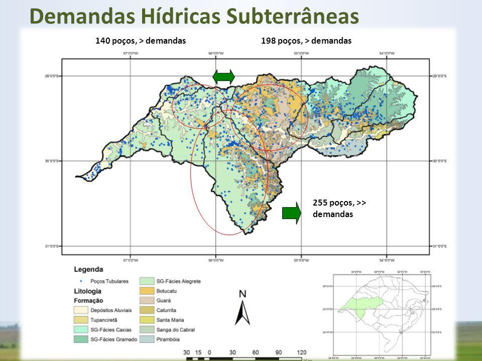 255 poços, >> demandas 198 poços, > demandas140 poços, > demandas Demandas Hídricas Subterrâneas