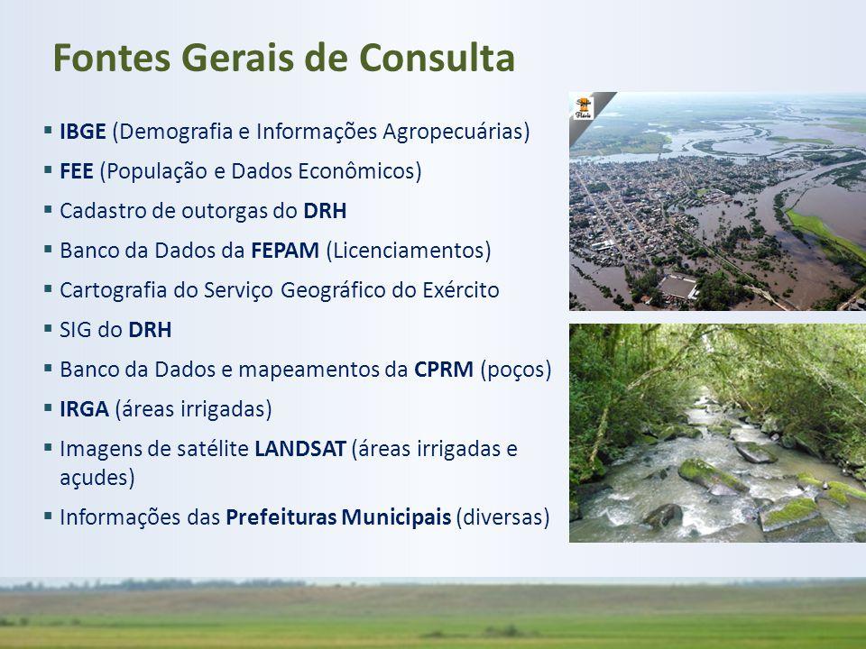  IBGE (Demografia e Informações Agropecuárias)  FEE (População e Dados Econômicos)  Cadastro de outorgas do DRH  Banco da Dados da FEPAM (Licencia