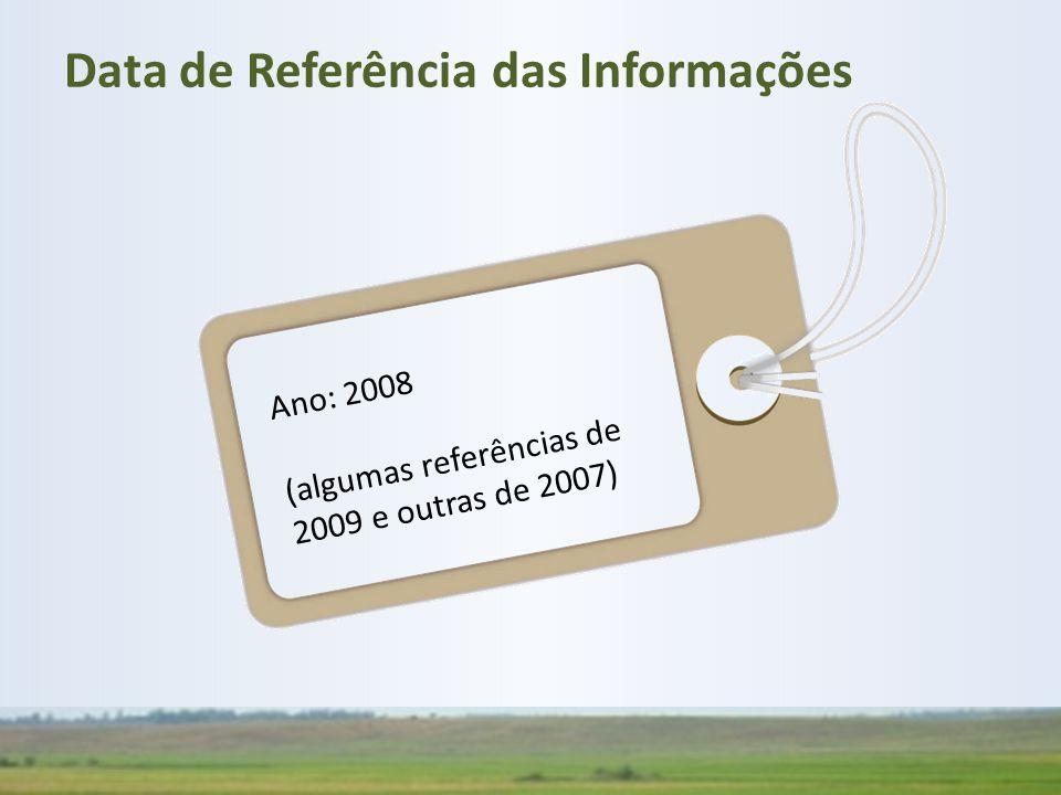 Ano: 2008 (algumas referências de 2009 e outras de 2007) Data de Referência das Informações