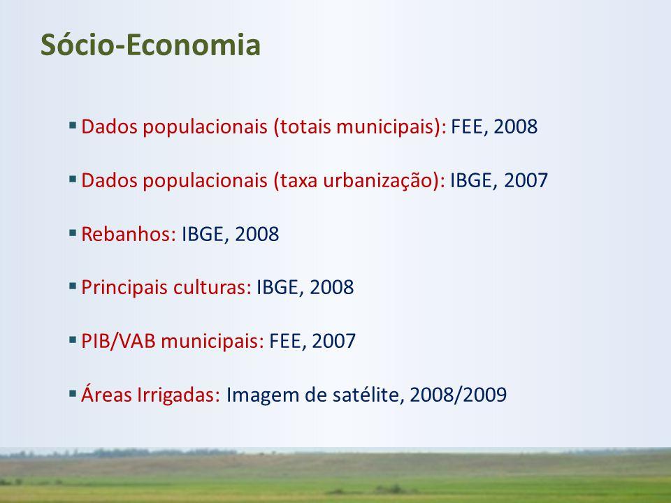  Dados populacionais (totais municipais): FEE, 2008  Dados populacionais (taxa urbanização): IBGE, 2007  Rebanhos: IBGE, 2008  Principais culturas