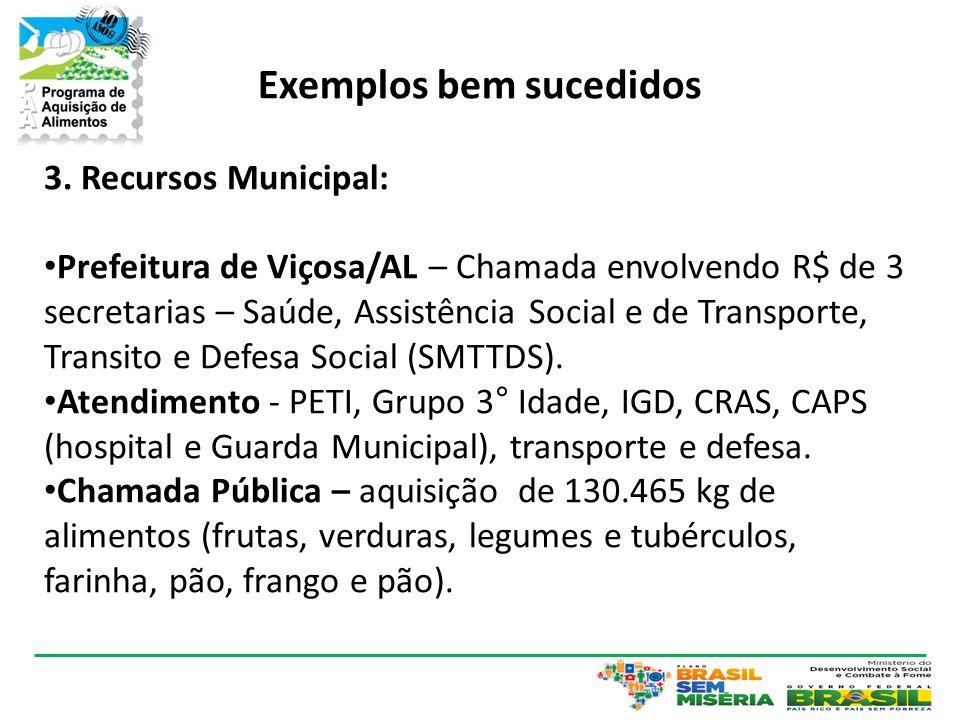 Exemplos bem sucedidos 3. Recursos Municipal: • Prefeitura de Viçosa/AL – Chamada envolvendo R$ de 3 secretarias – Saúde, Assistência Social e de Tran