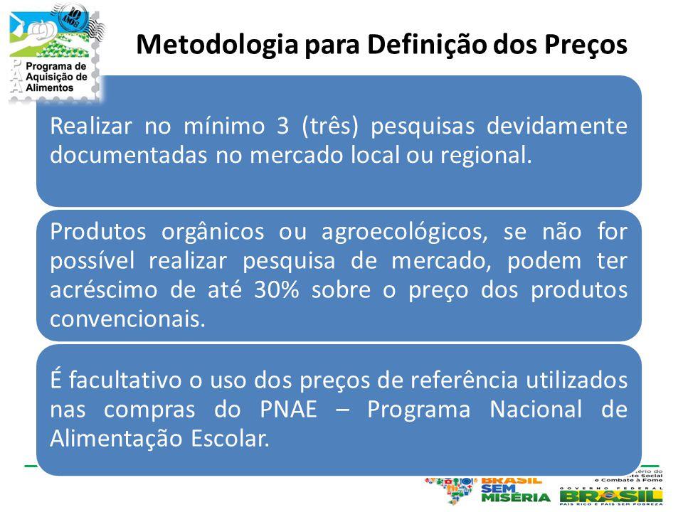 Metodologia para Definição dos Preços Realizar no mínimo 3 (três) pesquisas devidamente documentadas no mercado local ou regional. Produtos orgânicos