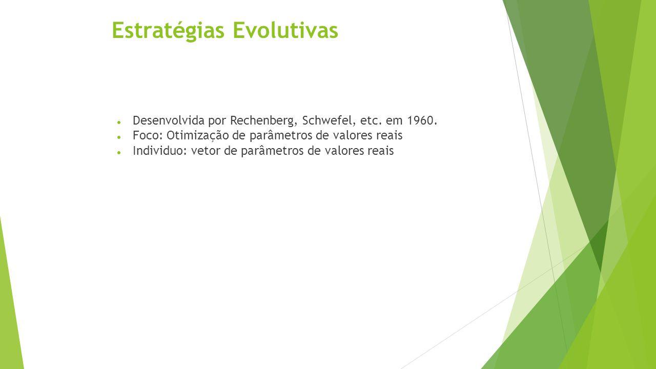 População Inicial  A população inicial é composta por árvores geradas aleatoriamente a partir dos conjuntos de funções F e de terminais T;  Inicialmente se escolhe aleatoriamente uma função f  F ;  Para cada argumento de f, escolhe-se um elemento de {F U T};  O processo prossegue até que se tenha apenas terminais como nós folha da árvore;  Em geral se especifica a profundidade máxima da árvore para se evitar árvores muitos grandes;  Outro parâmetro importante é o tamanho da população inicial  População pequena - pouca variabilidade genética - pode causar estagnaçãp do processo evolutivo.