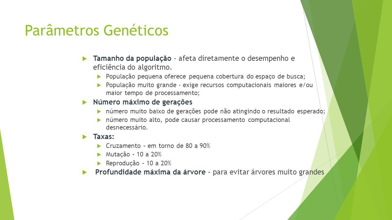 Parâmetros Genéticos  Tamanho da população - afeta diretamente o desempenho e eficiência do algoritmo.