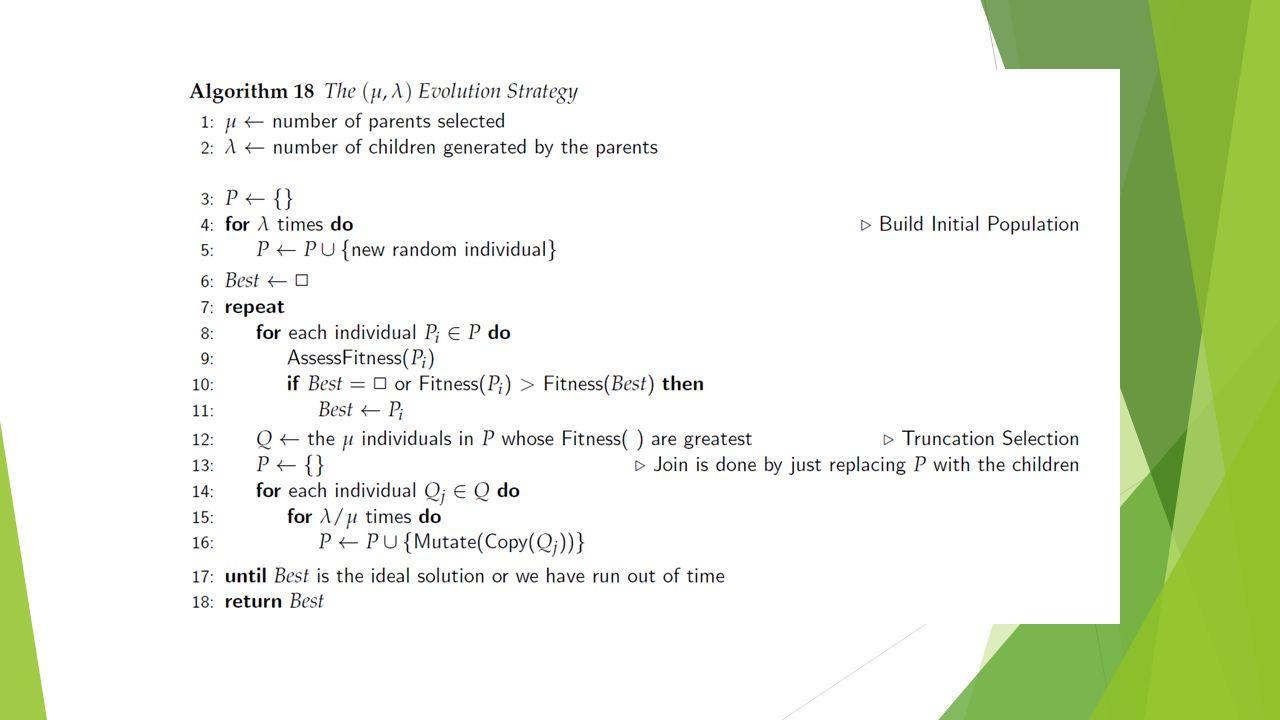 Algoritmo (µ,λ)  Exploração x Explotação  λ, controla numero de amostras de cada individuo, para valores altos busca aleatoria  μ controla seleção, isto é, explotação dos melhores indivíduos que sobrevivem  O grau de mutação, vizinhança maior ou menor