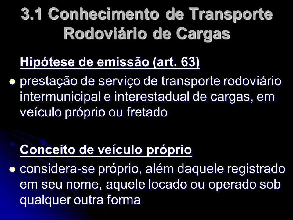 Hipótese de emissão (art. 63)  prestação de serviço de transporte rodoviário intermunicipal e interestadual de cargas, em veículo próprio ou fretado