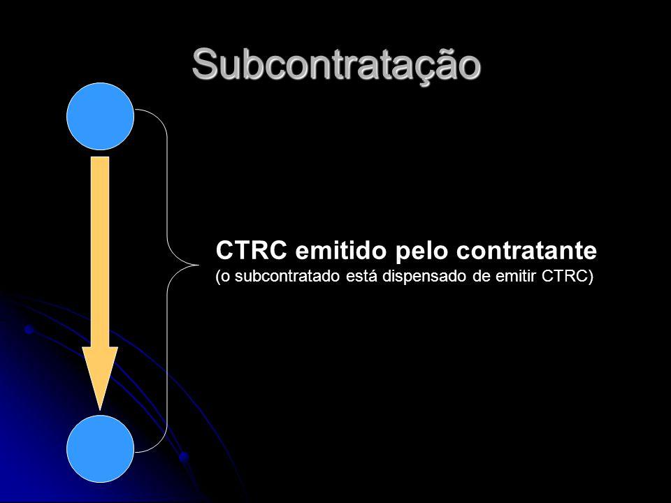 Subcontratação CTRC emitido pelo contratante (o subcontratado está dispensado de emitir CTRC)