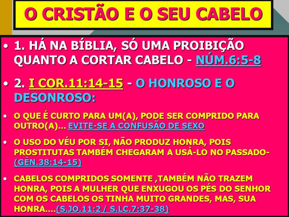 O CRISTÃO E O SEU CABELO •1. •1. HÁ NA BÍBLIA, SÓ UMA PROIBIÇÃO QUANTO A CORTAR CABELO - NÚM.6:5-8 •2. •2. I COR.11:14-15 COR.11:14-15 - O HONROSO E O