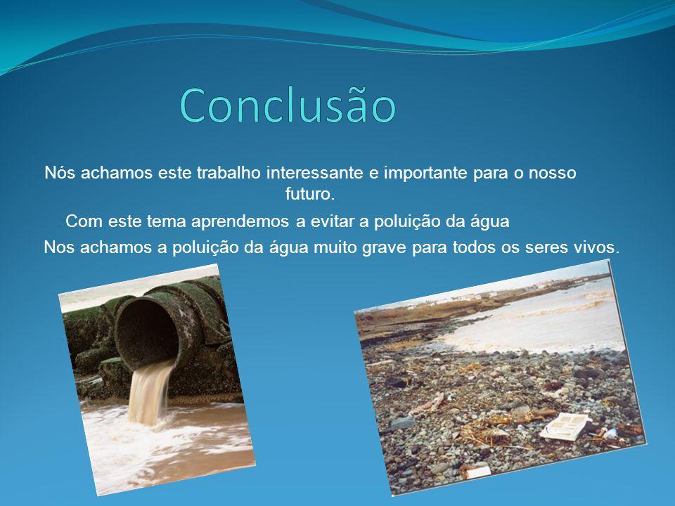 Nós achamos este trabalho interessante e importante para o nosso futuro. Com este tema aprendemos a evitar a poluição da água Nos achamos a poluição d
