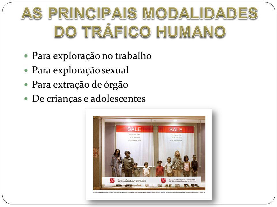  Para exploração no trabalho  Para exploração sexual  Para extração de órgão  De crianças e adolescentes