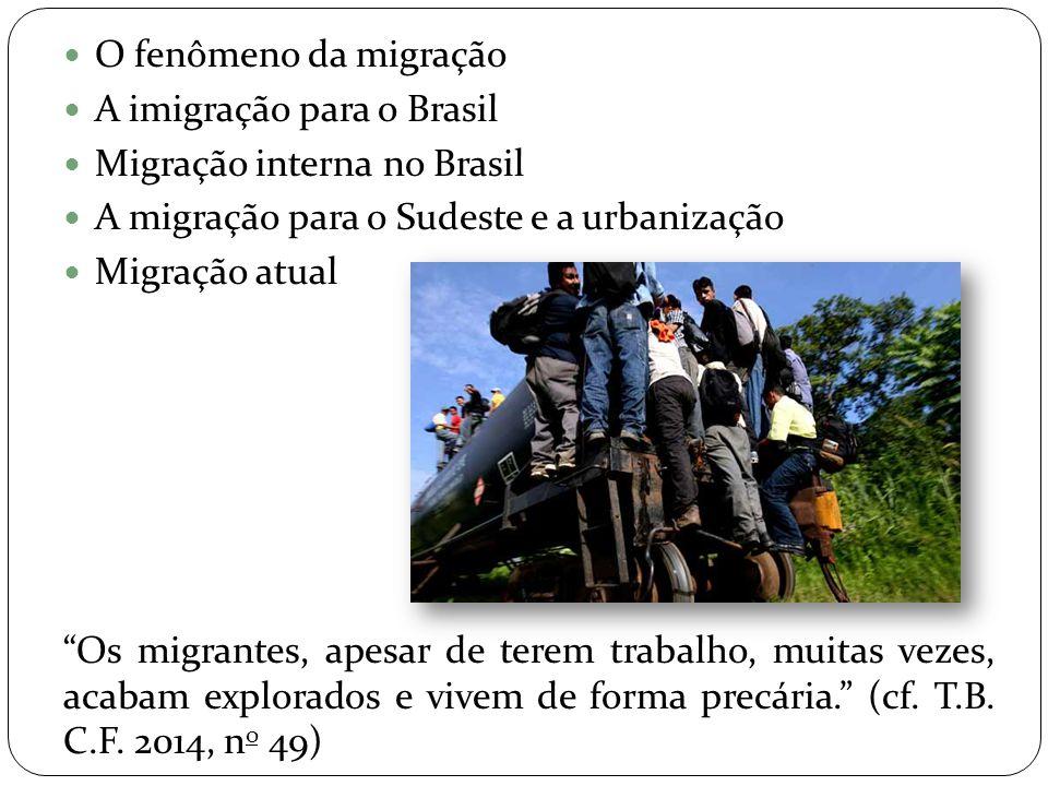 """ O fenômeno da migração  A imigração para o Brasil  Migração interna no Brasil  A migração para o Sudeste e a urbanização  Migração atual """"Os mig"""