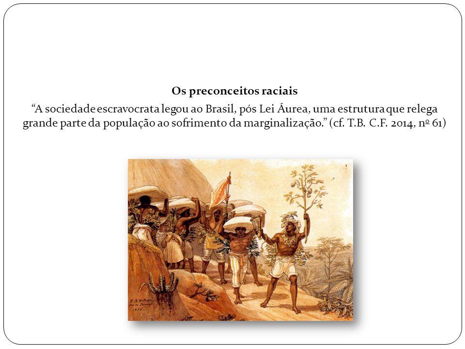 """Os preconceitos raciais """"A sociedade escravocrata legou ao Brasil, pós Lei Áurea, uma estrutura que relega grande parte da população ao sofrimento da"""
