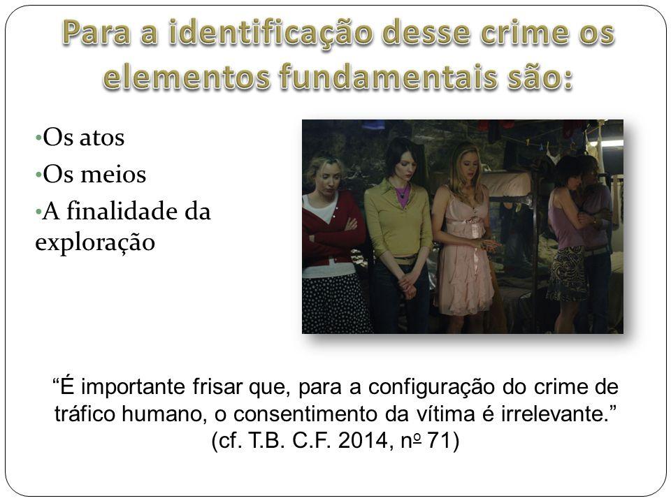 """• Os atos • Os meios • A finalidade da exploração """"É importante frisar que, para a configuração do crime de tráfico humano, o consentimento da vítima"""