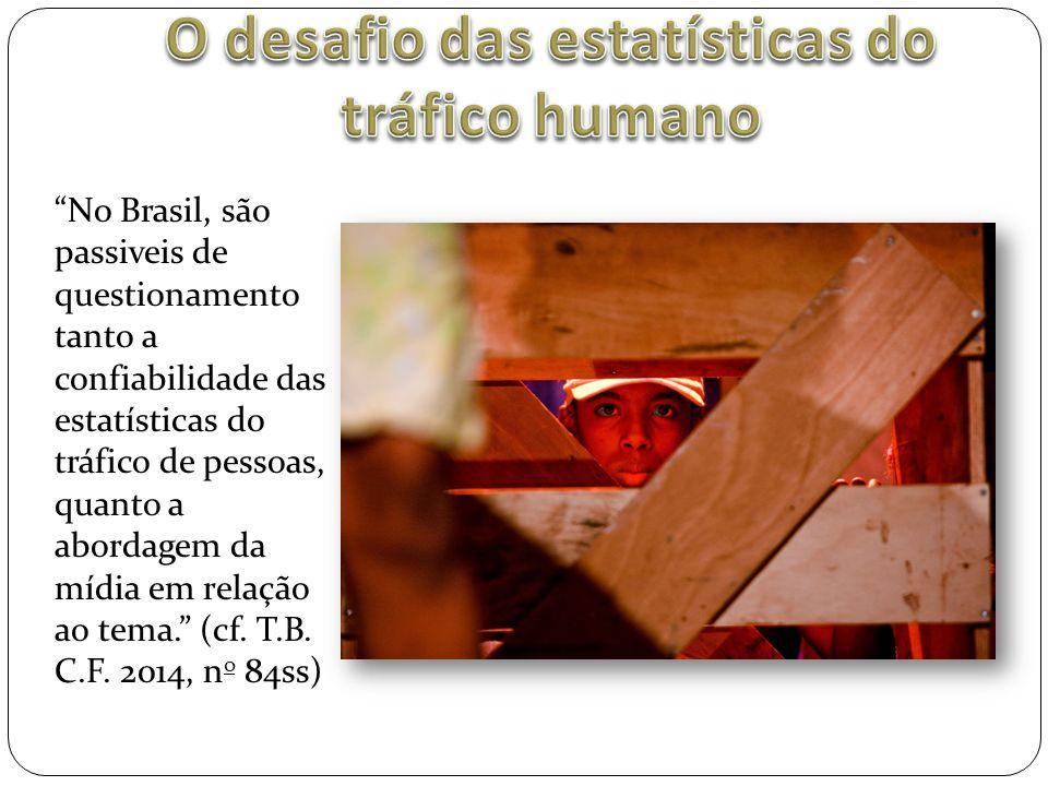 """""""No Brasil, são passiveis de questionamento tanto a confiabilidade das estatísticas do tráfico de pessoas, quanto a abordagem da mídia em relação ao t"""