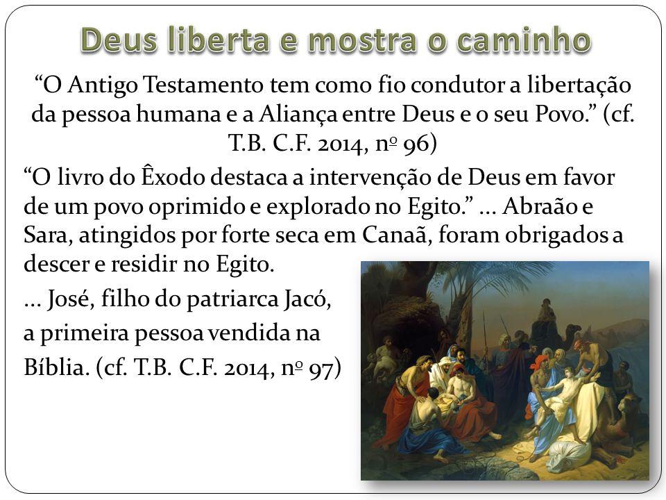 """""""O Antigo Testamento tem como fio condutor a libertação da pessoa humana e a Aliança entre Deus e o seu Povo."""" (cf. T.B. C.F. 2014, n o 96) """"O livro d"""