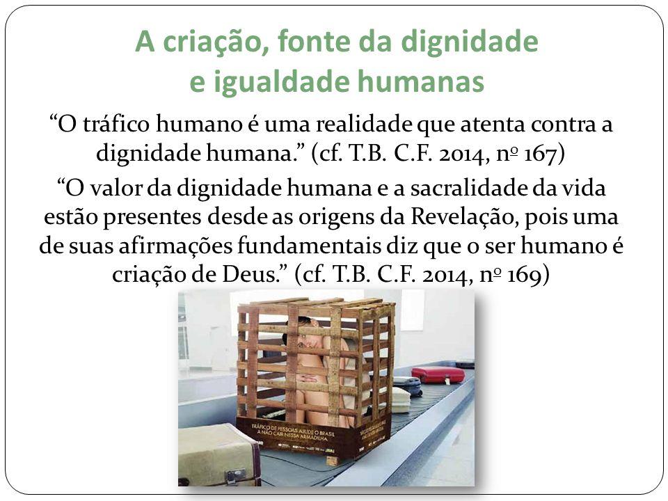 """A criação, fonte da dignidade e igualdade humanas """"O tráfico humano é uma realidade que atenta contra a dignidade humana."""" (cf. T.B. C.F. 2014, n o 16"""