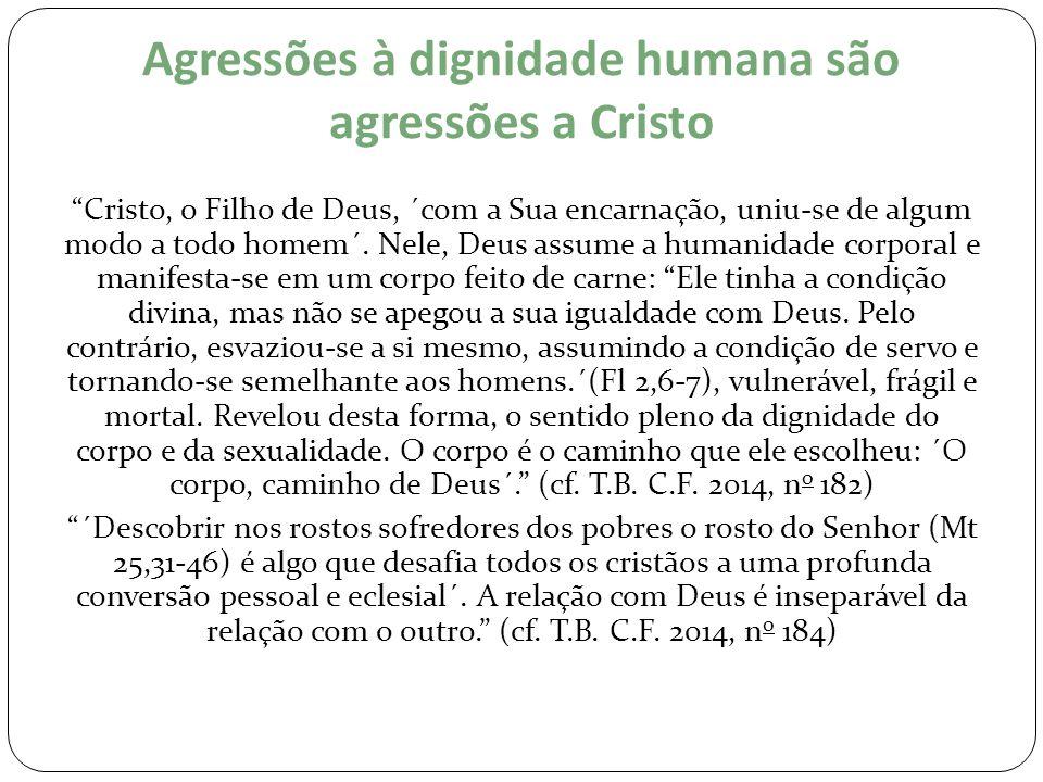 """Agressões à dignidade humana são agressões a Cristo """"Cristo, o Filho de Deus, ´com a Sua encarnação, uniu-se de algum modo a todo homem´. Nele, Deus a"""