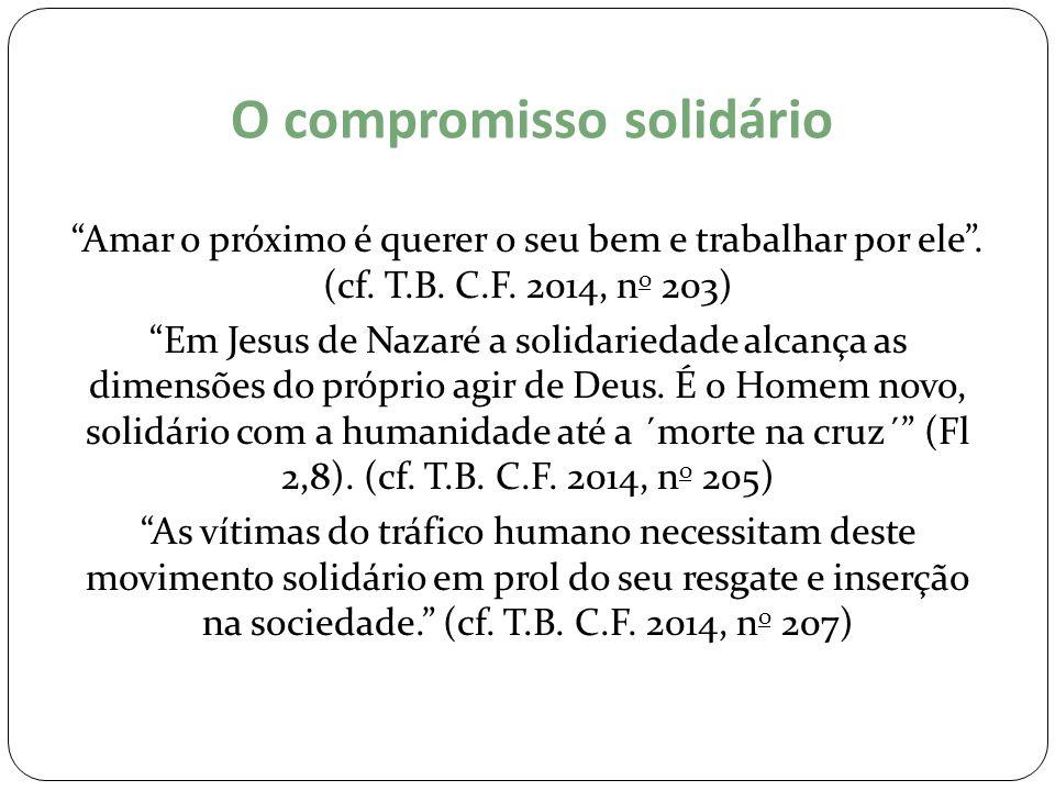 """O compromisso solidário """"Amar o próximo é querer o seu bem e trabalhar por ele"""". (cf. T.B. C.F. 2014, n o 203) """"Em Jesus de Nazaré a solidariedade alc"""