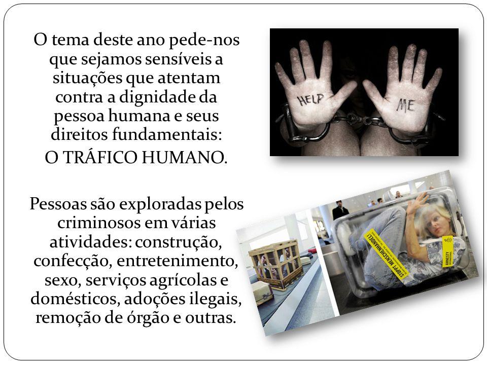 Identificar as práticas de tráfico humano em suas várias formas e denunciá-lo como violação da dignidade e da liberdade humana mobilizando cristãos e a sociedade brasileira para erradicar esse mal, com vista ao resgate da vida dos filhos e filhas de Deus.