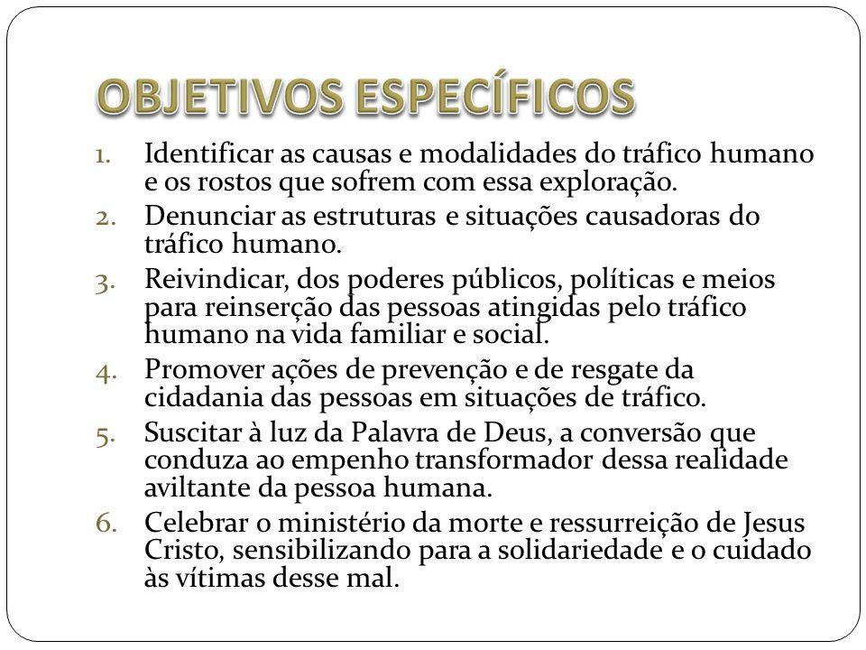 1.Identificar as causas e modalidades do tráfico humano e os rostos que sofrem com essa exploração. 2.Denunciar as estruturas e situações causadoras d