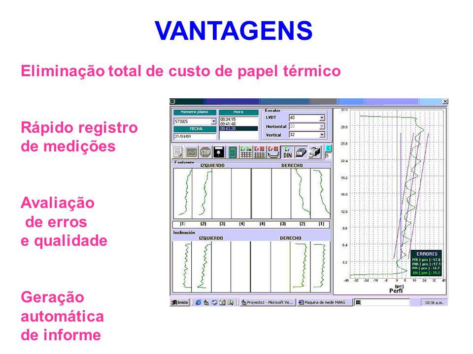 Eliminação total de custo de papel térmico Rápido registro de medições Avaliação de erros e qualidade Geração automática de informe VANTAGENS