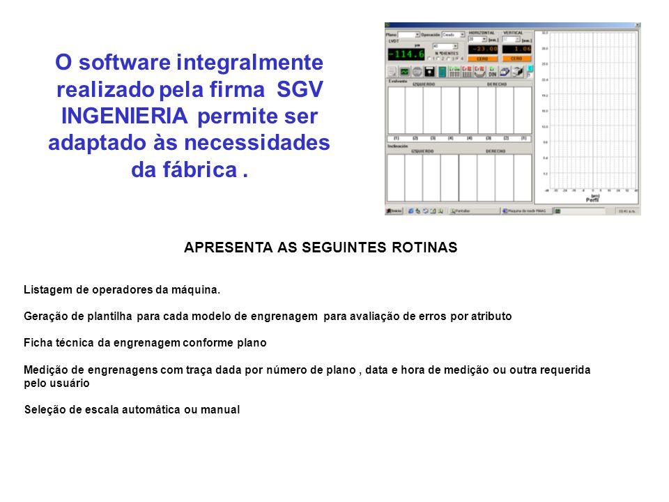 O software integralmente realizado pela firma SGV INGENIERIA permite ser adaptado às necessidades da fábrica. APRESENTA AS SEGUINTES ROTINAS Listagem