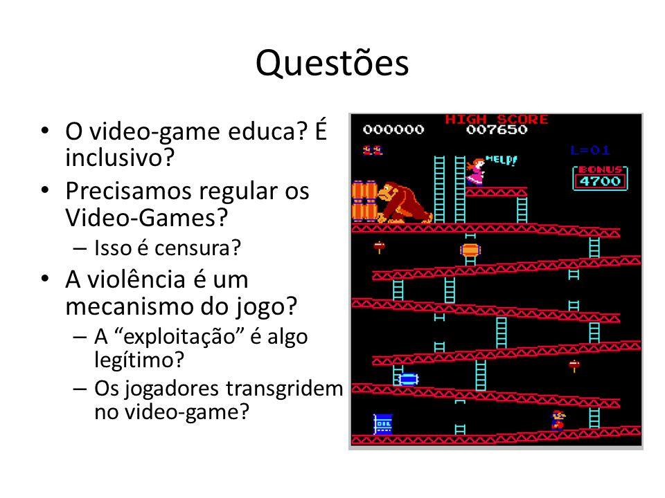 Questões • O video-game educa.É inclusivo. • Precisamos regular os Video-Games.