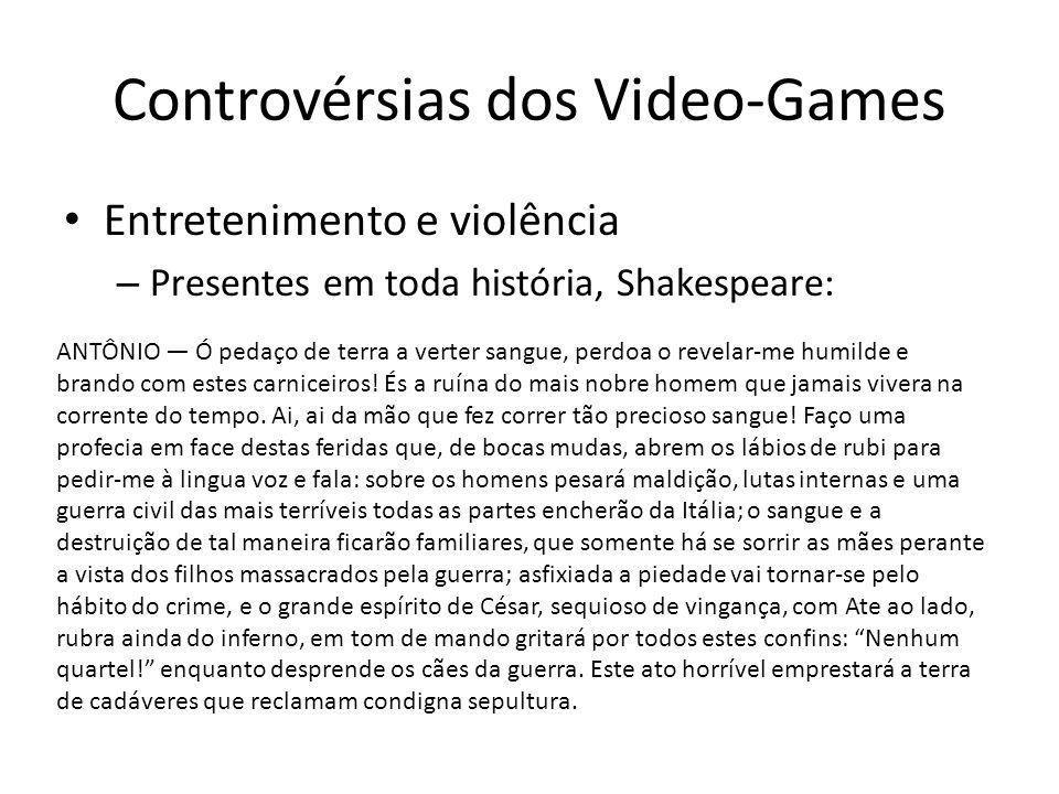 Controvérsias dos Video-Games • Entretenimento e violência – Presentes em toda história, Shakespeare: ANTÔNIO — Ó pedaço de terra a verter sangue, per