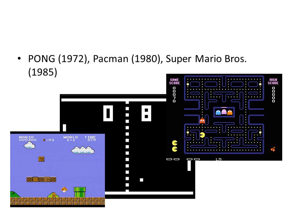 • PONG (1972), Pacman (1980), Super Mario Bros. (1985)