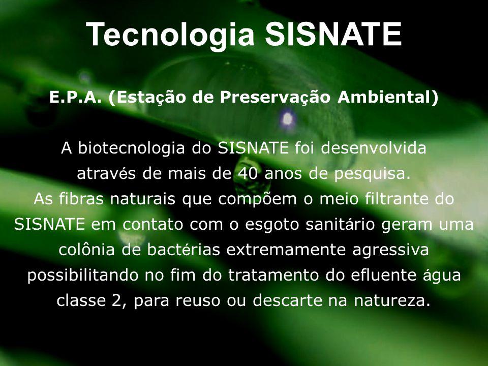E.P.A. (Esta ç ão de Preserva ç ão Ambiental) A biotecnologia do SISNATE foi desenvolvida atrav é s de mais de 40 anos de pesquisa. As fibras naturais
